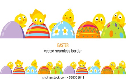 Easter horizontal seamless border with cute funny chicks and decorative eggs, Vector background