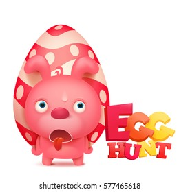 Easter hunt invitation card template with pink bunny. Vector Illustration.
