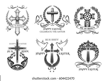 Easter icons of crucifix cross and paschal he is risen, be blessed, celebrate savior. Vector Happy Easter symbols of Christian catholic or orthodox religion doves and ornate wreath ribbons