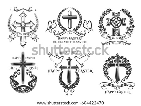 Easter Icons Crucifix Cross Paschal He Stock Vector Royalty Free