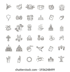 Easter icons set. Christianity vector symbols