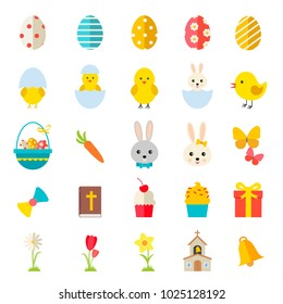 Easter icons set with rabbits; eggs; chick; flowers; ets. Design elements for holiday