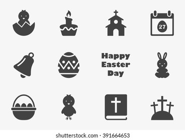Easter icons in trendy flat style isolated on grey background. Vector illustration, EPS10.