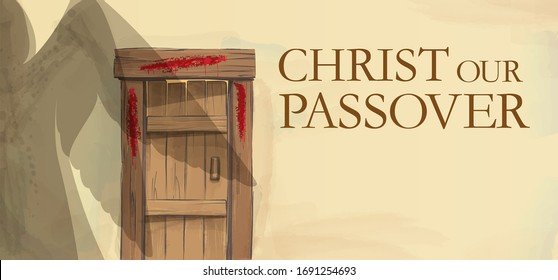 Easter illustration Blood on the doorposts. The shadow of a passing angel of the destroyer. Greeting card, congratulation, advertisement banner with assignment. Copy Space.