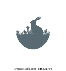 Easter illustration with rabbit silhouette icon