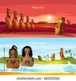 Easter Island banners, Moai statues of Easter island landscape Polynesia. Stone idols. Tourism and vacation tropical background. People of Easter Island, tradition and culture
