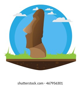 Easter Island Statue With Grass And Island Effect And Ready For Travel