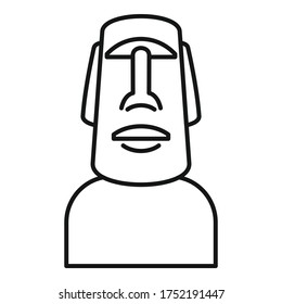Easter island statue icon. Outline easter island statue vector icon for web design isolated on white background