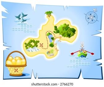 Easter island treasure map