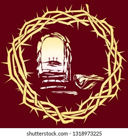 Easter Jesus Christ rose from the dead. Sunday morning. Dawn. The empty tomb in the background of the crucifixion. symbol of Christianity vector illustration sketch