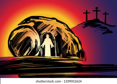 Easter Jesus Christ rose from the dead. Sunday morning. Dawn. The empty tomb in the background of the crucifixion. symbol of Christianity vector illustration