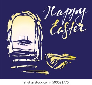 Easter, Jesus Christ rose from the dead. Sunday morning. Dawn. The empty tomb in the background of the crucifixion. symbol of Christianity hand drawn vector illustration sketch