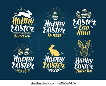 Easter, label set. Handwritten beautiful lettering to design greeting card. Vector illustration