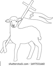 Easter Lamb with Cross. Religion symbol. Vector illustration