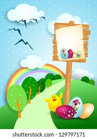 Easter landscape with wooden signboard, vector