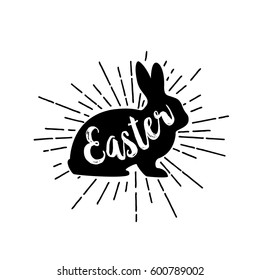 Easter lettering on rabbit silhouette