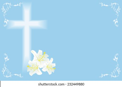 easter  lily and cross on blue background