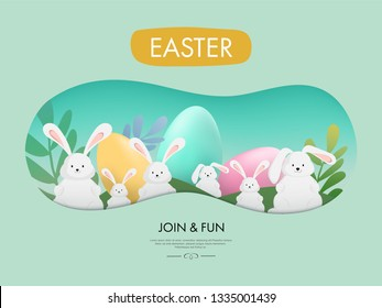 Easter and Little Bunny cute rabbit. Holiday greeting element. Egg colorful.