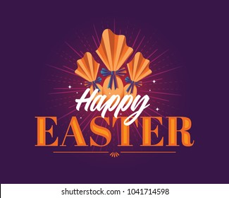 Easter Logotype. Colorful Composition. Packed Chocolate Eggs. Easter Vector Design.