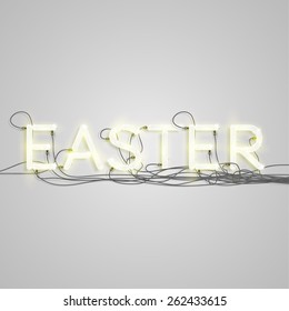 'EASTER' made by neon font, vector