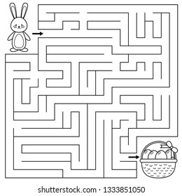 Easter maze game for preschool kids. Coloring page. Help the bunny find right way to the Easter eggs. Vector illustration.