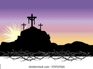 Easter morning, Calvary hill with silhouettes of the cross, Resurrection background with sun rays