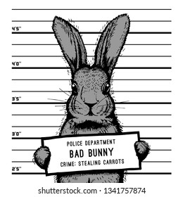 Bad Bunny Images Stock Photos Vectors Shutterstock ✓ free for commercial use ✓ high quality images. https www shutterstock com image vector easter mugshot bad rabbit illustration 1341757874