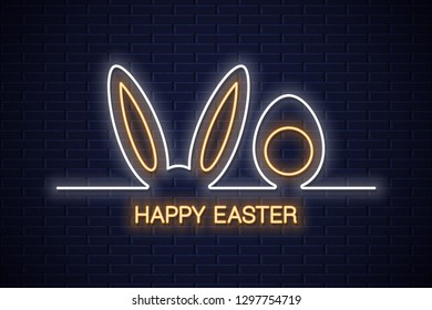 Easter neon banner. Easter bunny with egg neon line sign on wall background
