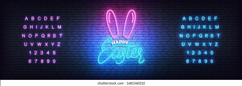 Easter neon template. Glowing label for Easter and alphabet.