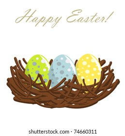 Easter nest with colorful eggs. Vector illustration