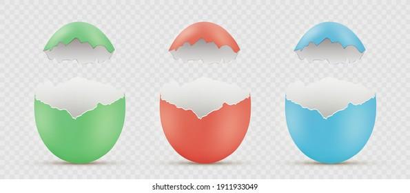 Osterbemalt zerbrochene Eier. Leere Vorlage einzeln auf transparentem Hintergrund. Vektorgrafik