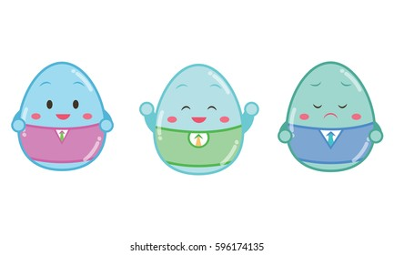 Easter painted eggs with face different emotions