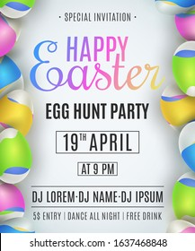 Easter party flyer. Egg hunt. Eggs with a pattern of colorful waves. Liquid design. Club invitation. Festive template for your design. Vector illustration. EPS 10