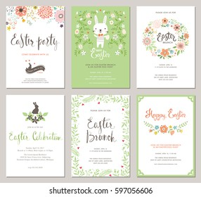 Easter Party Invitations and Greeting Cards with eggs, flowers, floral wreath, rabbit and typographic design on the textured background.Vectortemplates set.
