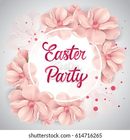 Easter party lettering with cherry flowers