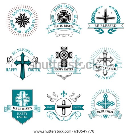 Easter Paschal Greeting Icons Crucifix Cross Stock Vector Royalty