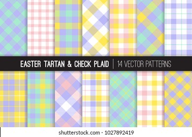 Easter Pastel Color Tartan and Gingham Check Plaid Vector Patterns. Light Shades of Pink, Yellow, Turquoise and Violet. Flannel Fabric Textures. Repeating Pattern Tile Swatches Included.