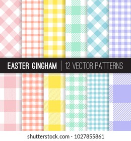 Easter Pastel Colors Gingham and Checks Vector Patterns. Light Shades of Pink, Coral Orange, Yellow, Turquoise, Blue and Lavender Purple. Pixel Pattern Tile Swatches Included.
