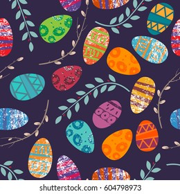 Easter pattern. Seamless pattern with Easter motifs. Vector pattern for greeting cards, wrapping paper, design diaries, fabrics and wallpapers.