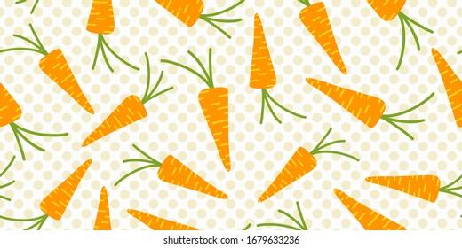 Easter pattern with sweet orange color carrots, pastel polka dot background