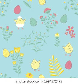 Easter pattern. Vector seamless texture with eggs, chikens, flowers. Childish seamless pattern in cartoon style. Seamless pattern can be used for wallpapers, pattern fills, web page backgrounds