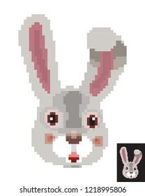 Easter pixel art rabbit hunter pixel art, funny 8 bit game style. Cute pretty Easter rabbit,pet logo, character isolated on white background. Cartoon rabbit icon. Vector illustration pixel art animal.