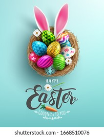 Easter poster and banner template with Easter eggs in the nest on light green background.Greetings and presents for Easter Day in flat lay styling.Promotion and shopping template for Easter