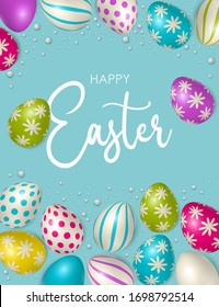 Easter poster and banner template with Easter eggs. Congratulations and gifts on the day of the Passover in a reclining style. Promotion and trading template for Easter