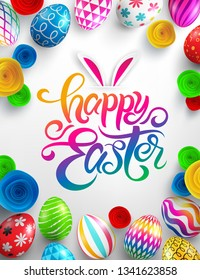 Easter Poster with gradient lettering,paper flower and colorful Painted Easter Eggs.Easter eggs with different texture on white background.Promotion and shopping template for Easter Day.Vector EPS10