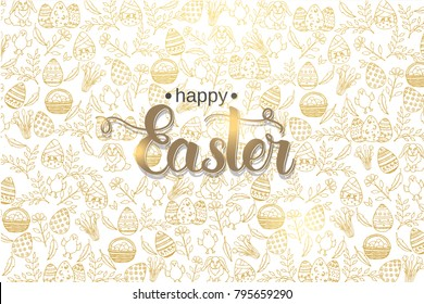 """Easter poster with hand made trendy lettering """"Happy Easter"""" and golden paschal symbols in sketch style. Banner, flyer, brochure. Background for holidays, postcards, websites"""