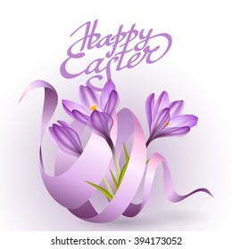 Easter poster with purple ribbon and crocus flowers. Vector illustration. Greeting spring card