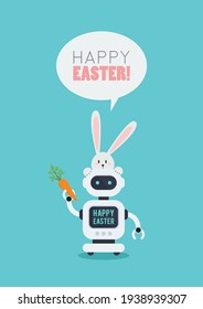 Easter Poster of rabbit with Chatbot holding carrot. Future machine robot. Easter concept. Flat style design