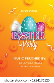 Easter posters or flyers,template with colorful eggs and golden eggs spring flowers eggs in the nest on light background