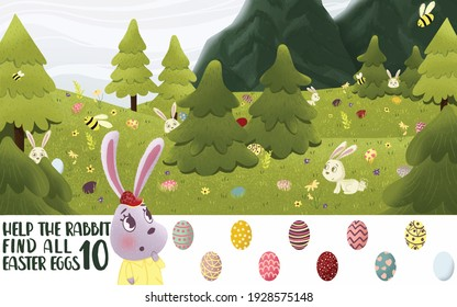 Easter puzzle for kids. Help the rabbit find Easter eggs. Find 10 hidden objects in the picture. Puzzle Hidden Items. Easter Colorful Eggs And Rabbit.